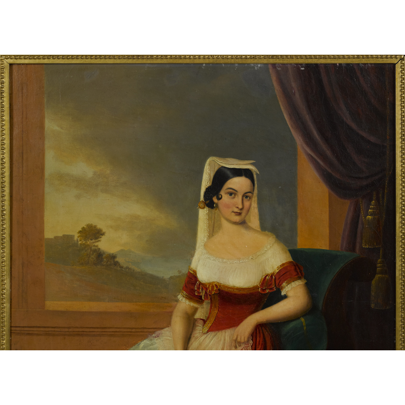 Hans Bebie (American 1824-1888), oil on canvas portrait of Miss Turpin, signed lower right