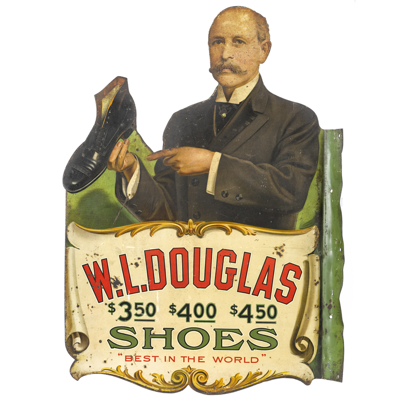W. L. Douglas Shoes tin lithograph flange sign, do