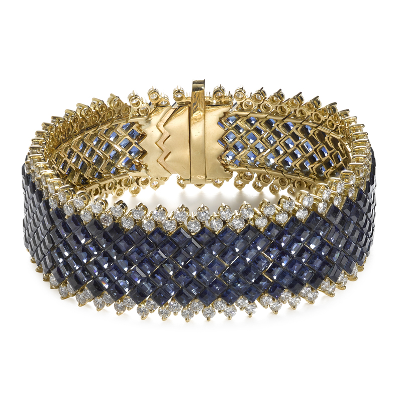 18K yellow gold invisible set sapphire and diamond