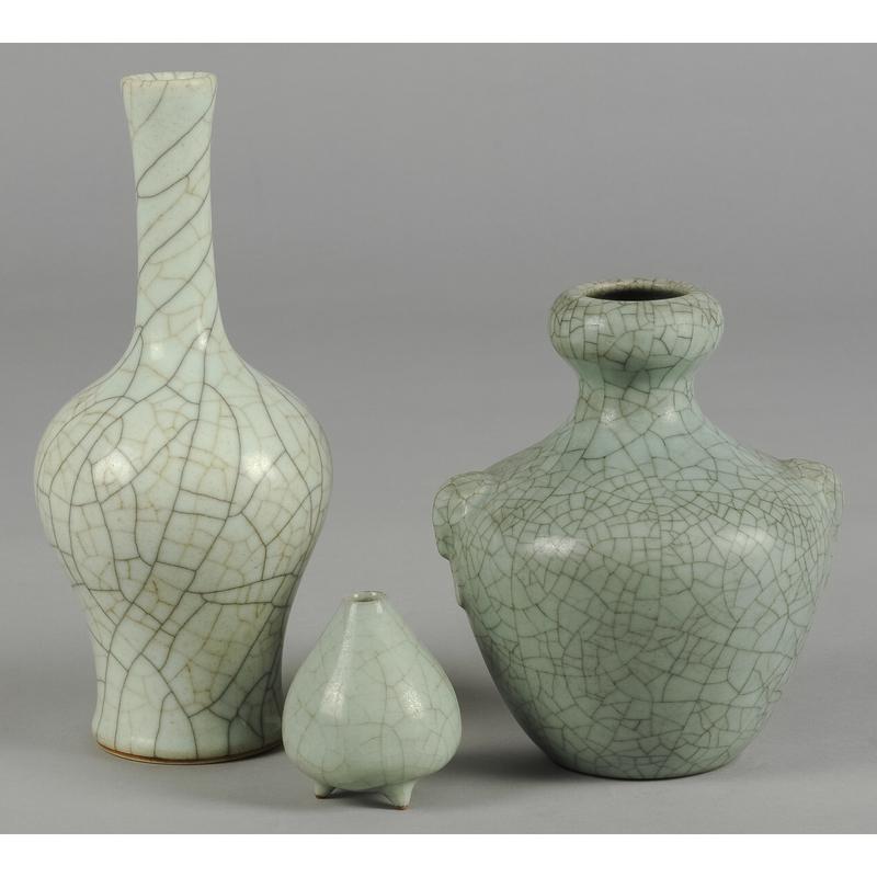 Three Chinese crackle glaze celadon vases, 3 3/4