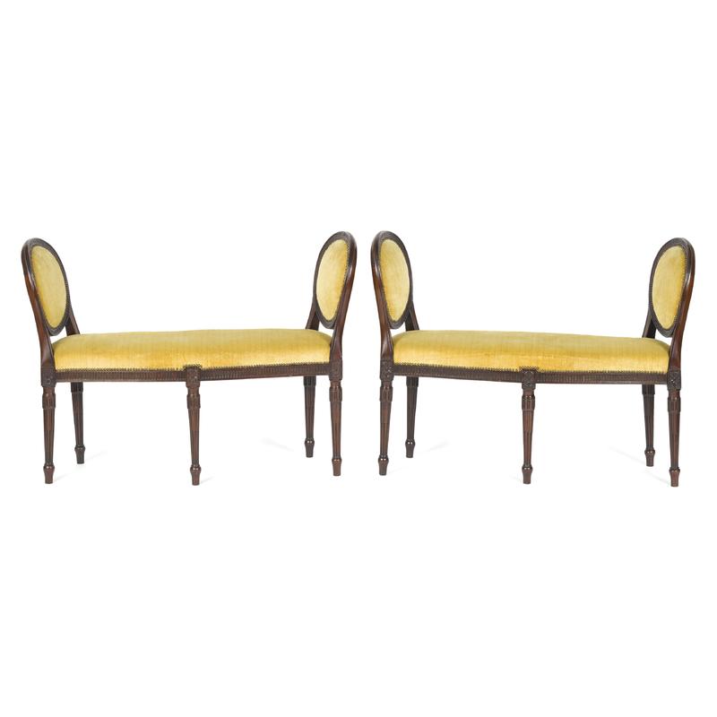 Pair of George III mahogany window seats, late 18t
