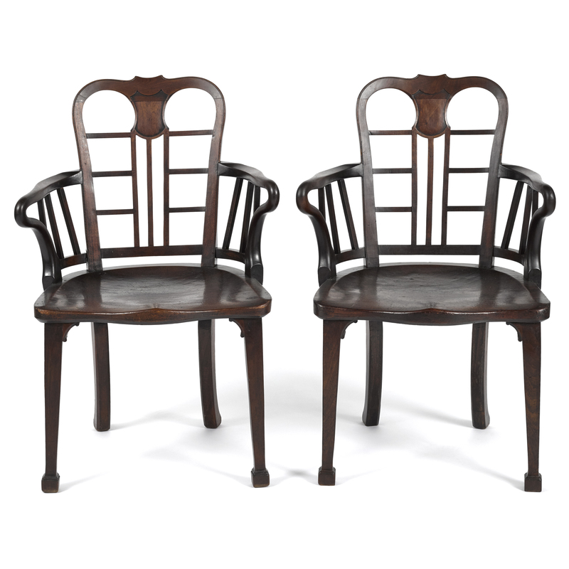 Pair of George III mahogany plank seat armchairs,a