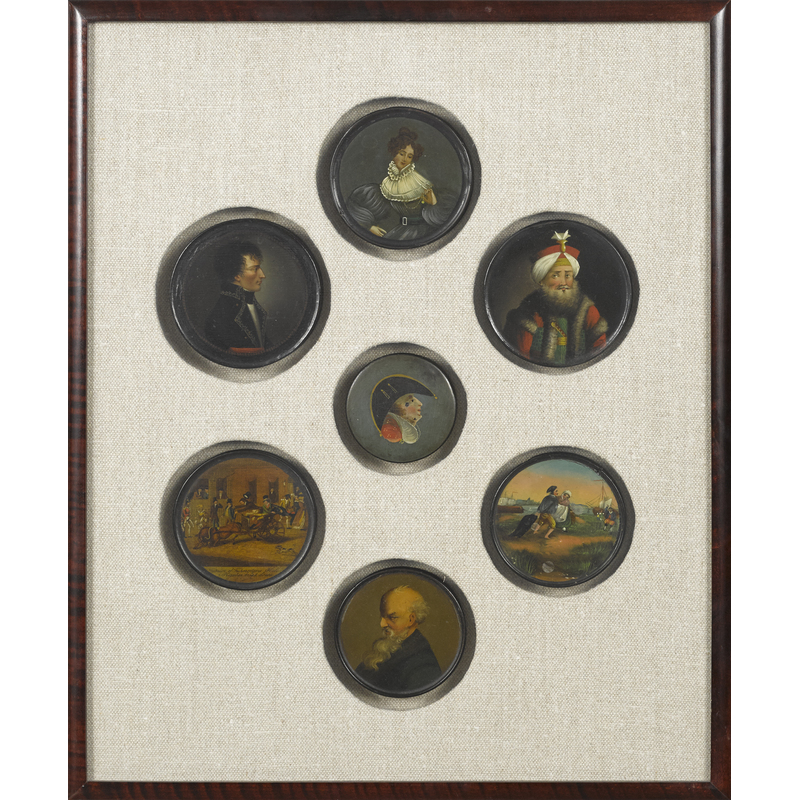 Seven framed lacquer dresser boxes, 19th c., fivei