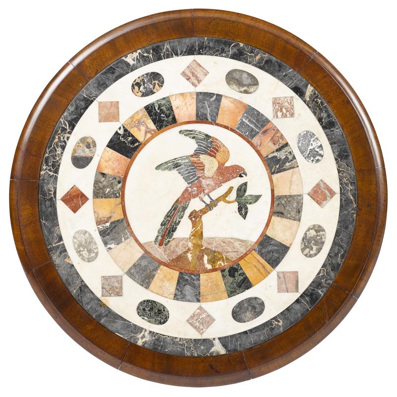 Pair of Italian mahogany center tables with mosaic