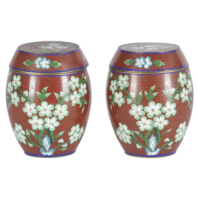 Pair of Chinese cloisonné barrel-form boxes and co