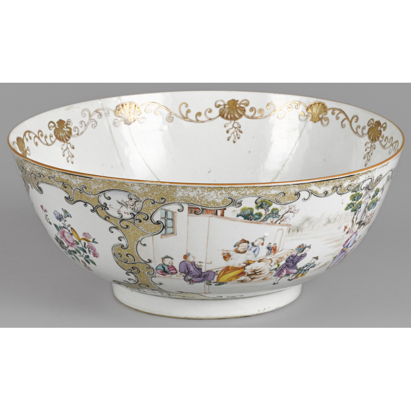 Large Chinese export porcelain punch bowl, ca. 180