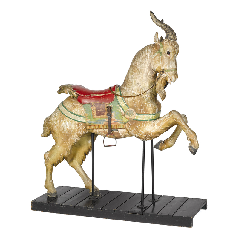 Carved and painted carousel goat, ca. 1900, attrib