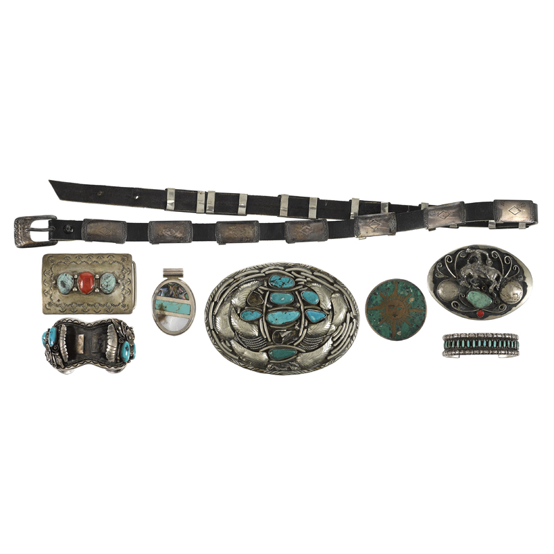 Native American Indian silver and turquoise jewelr