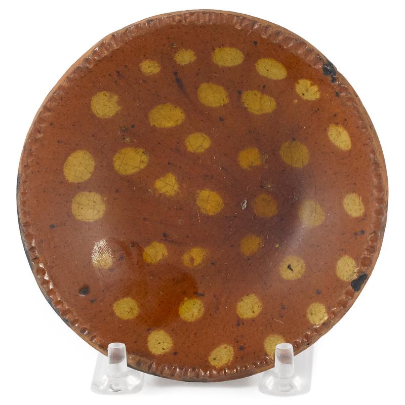 Miniature Pennsylvania redware pie plate, 19th c.,