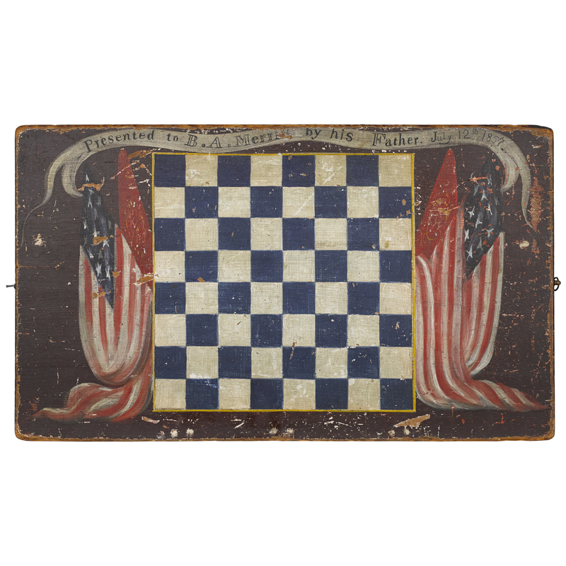 New England painted pine sailor's gameboard, inscr