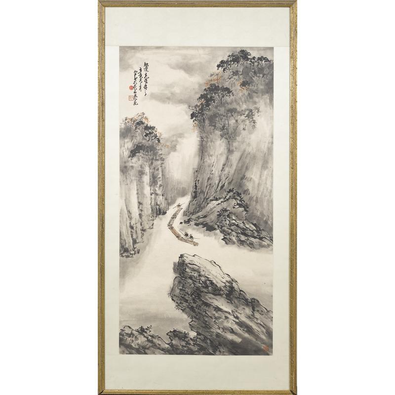 Oriental watercolor scroll, 52