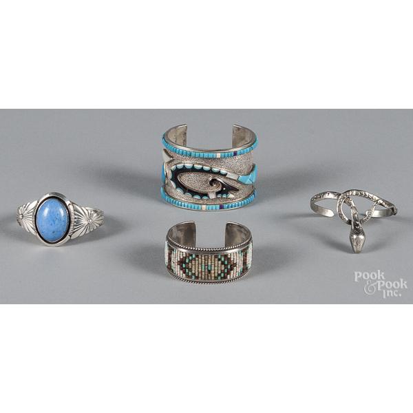 Southwestern Native American sterling silver cuff