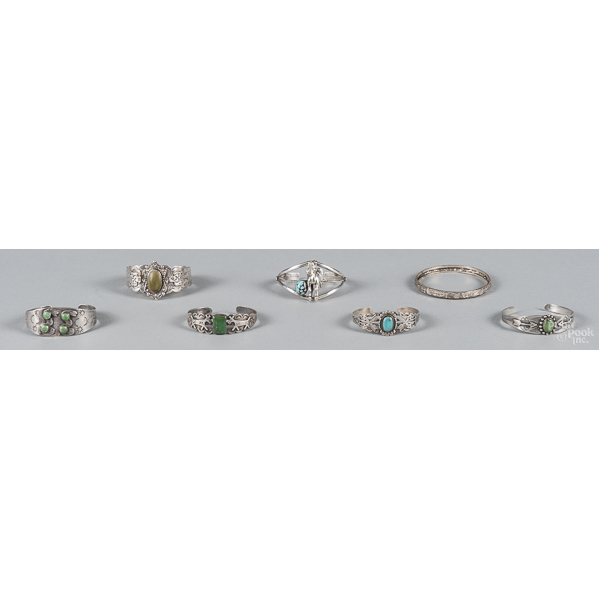 Six Southwestern Native American cuff bracelets,