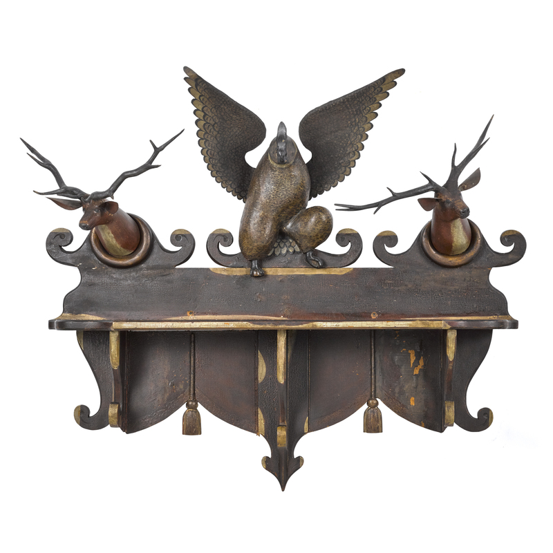 Folk art carved and painted hanging shelf, ca. 187