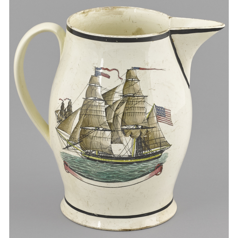 Liverpool Herculaneum pitcher, ca. 1810, decorated