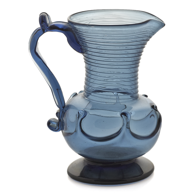 New York Type I lily pad blue blown glass pitcher,