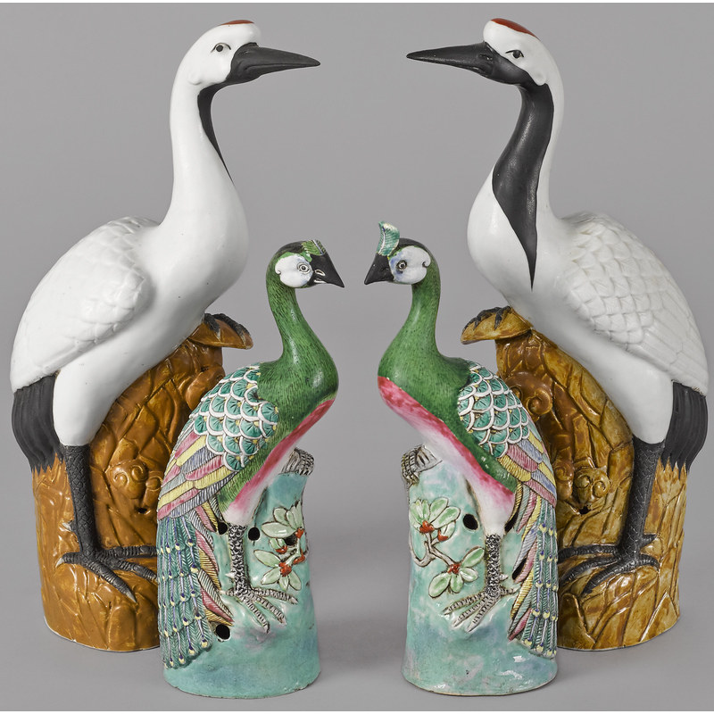 Two pair of Chinese porcelain birds, 15