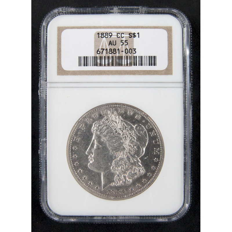 Silver Morgan dollar coin, 1889 CC, NGC AU-55.
