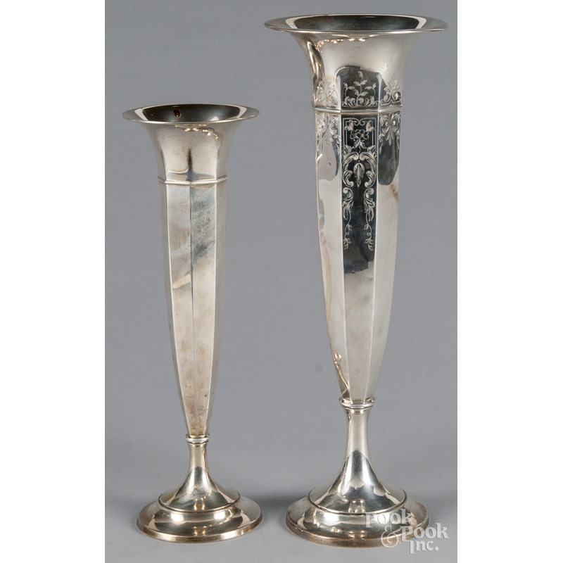 Two weighted sterling silver vases, 15