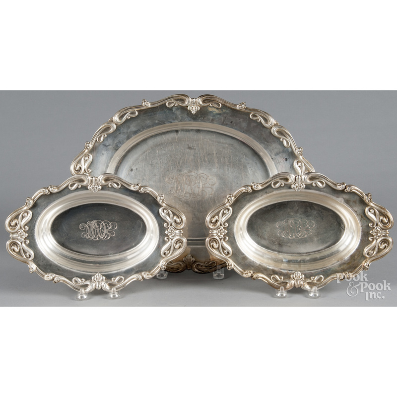Pair of Whiting sterling silver serving dishes, to