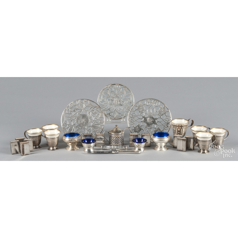 Group of sterling silver mounted tablewares.