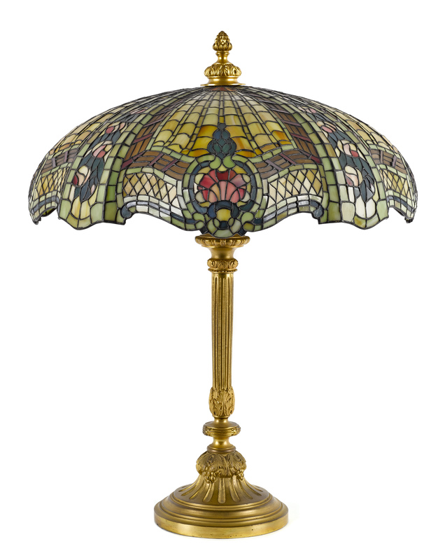 Brass and slag glass table lamp, early 20th c., 27