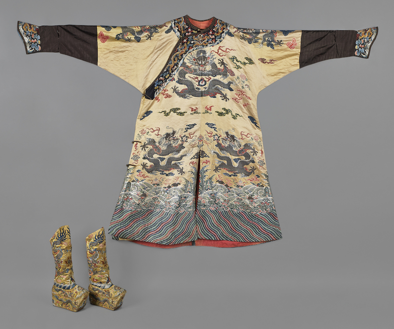 Chinese embroidered yellow silk robe & boots