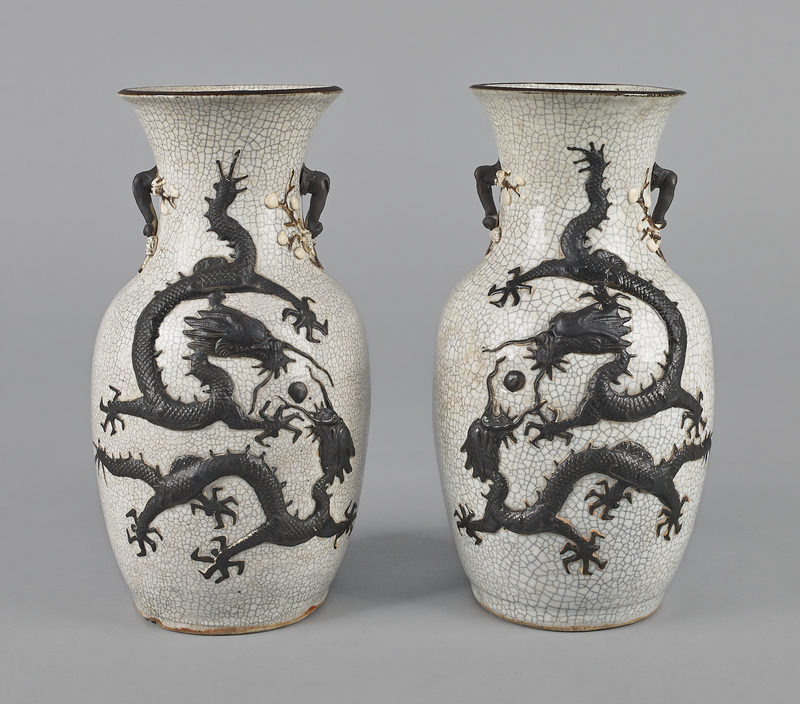 Pair Chinese crackle glaze vases, late 19th c., 13