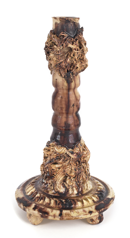 Virginia redware candlestick, ca. 1880, by Anthony