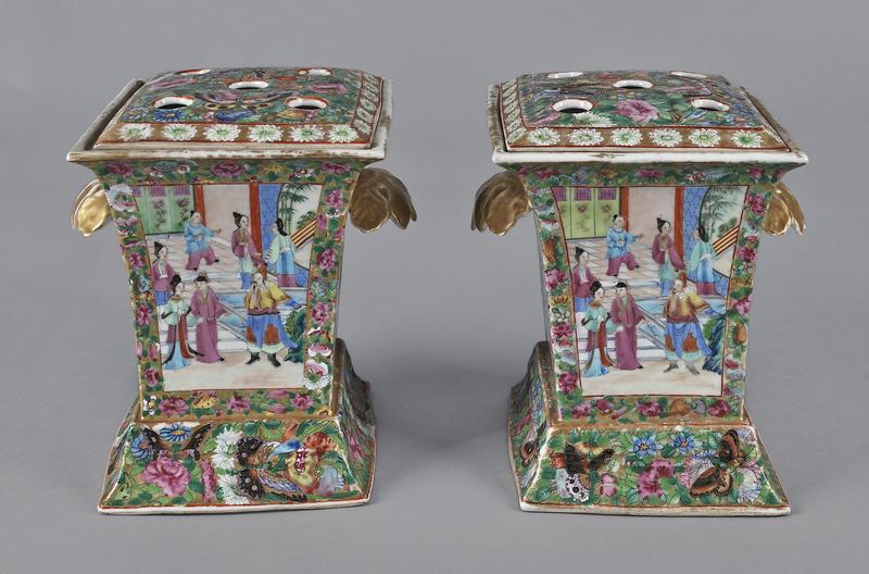 Pair of Chinese export porcelain rectangular famil