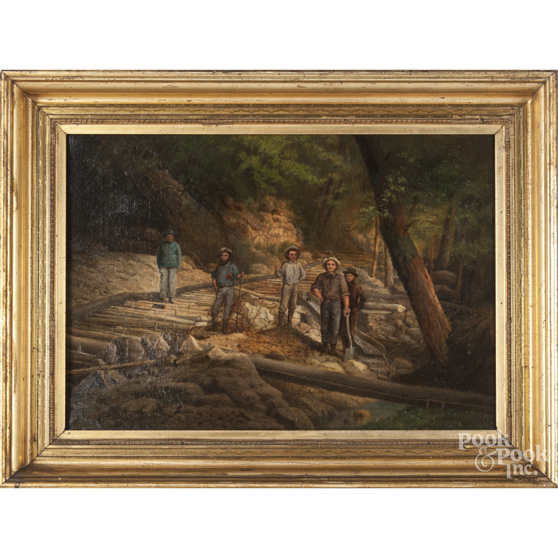 American oil on canvas of figures working