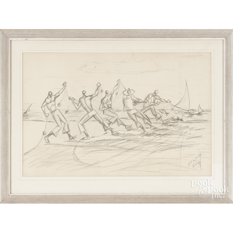 Drawing of fishermen with their nets