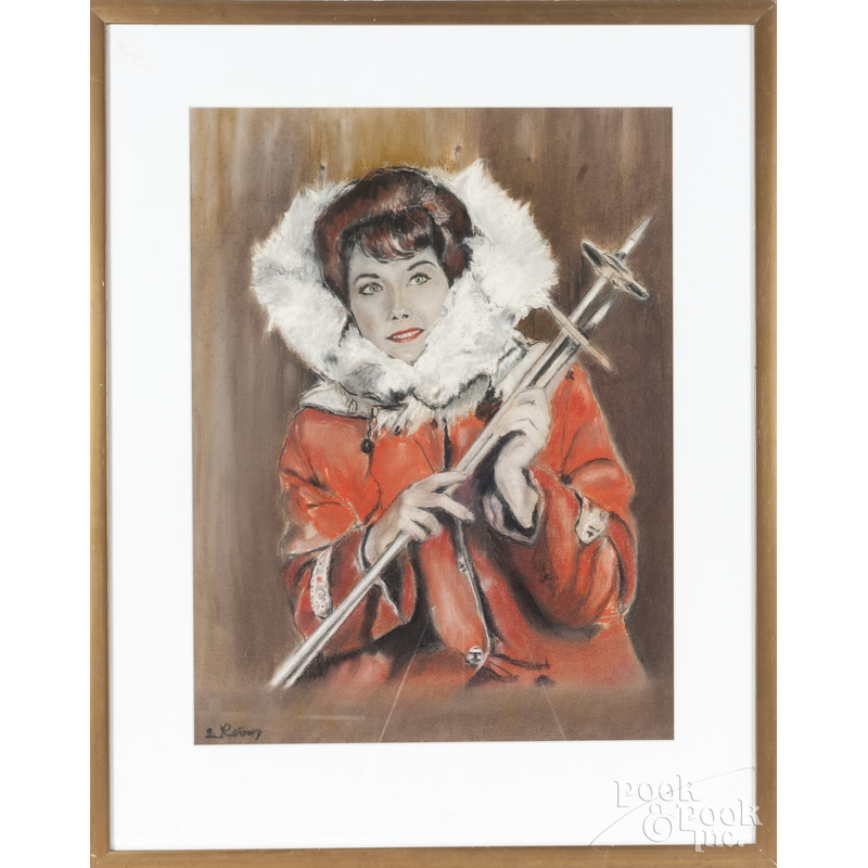 Pastel illustration of a woman with ski poles