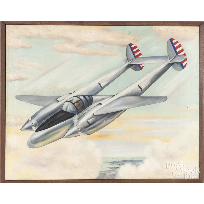 Oil on canvas illustration of an airplane