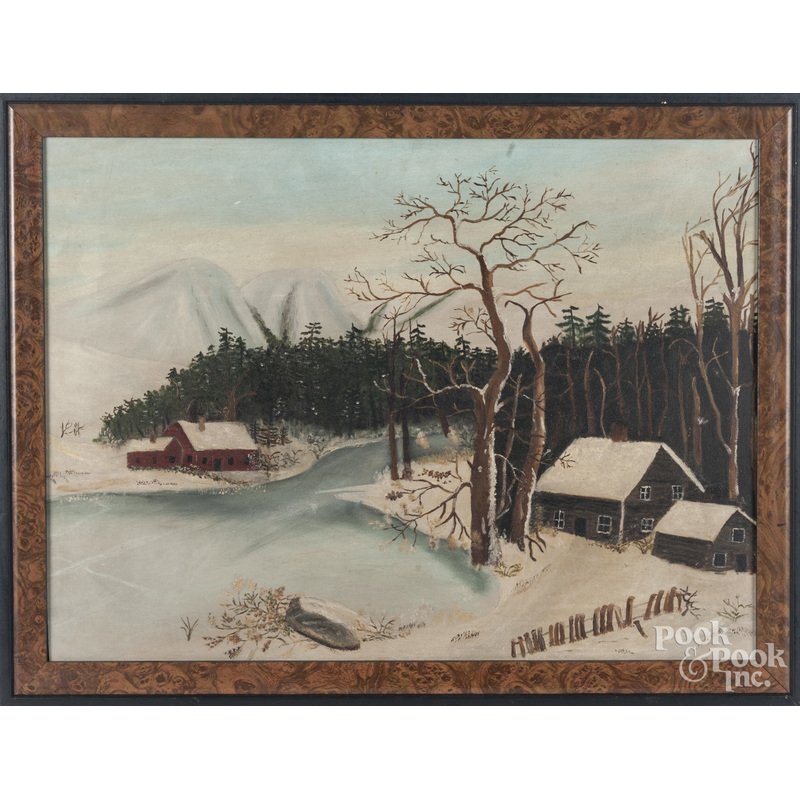 Oil on board of a primitive winter landscape
