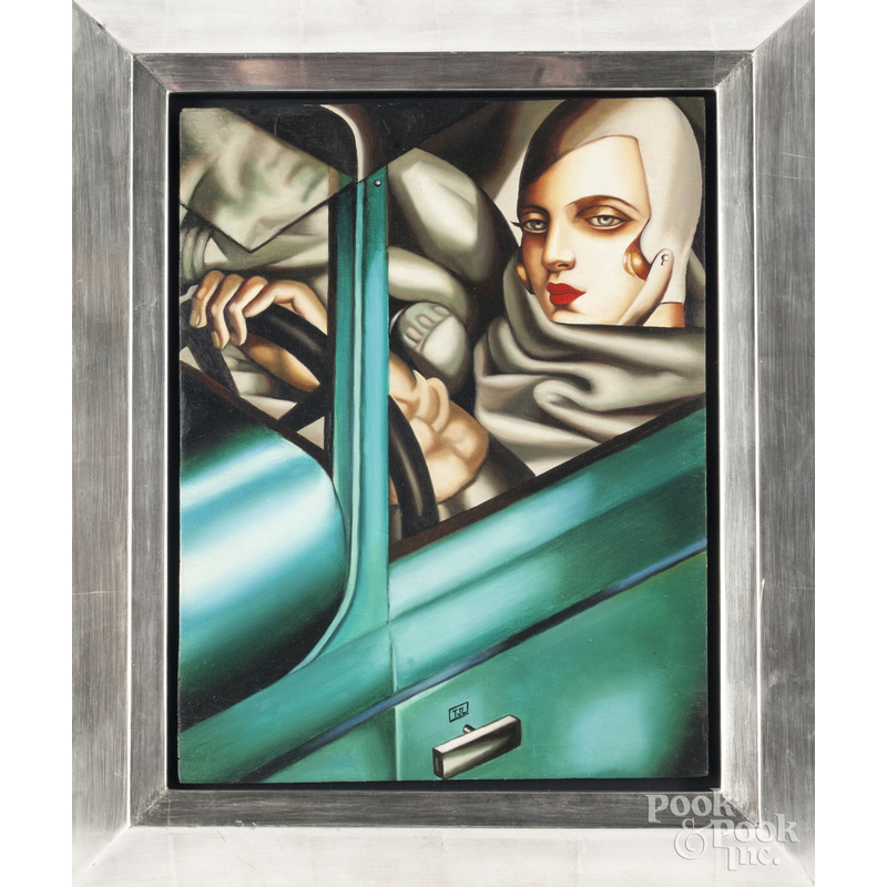 Oil on board in the style of Lempicka, of a woman driving