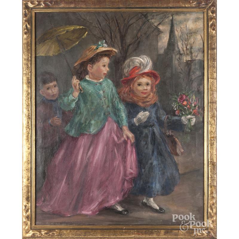 Esther Williams (American 1907-1969), oil on canvas portrait of three children