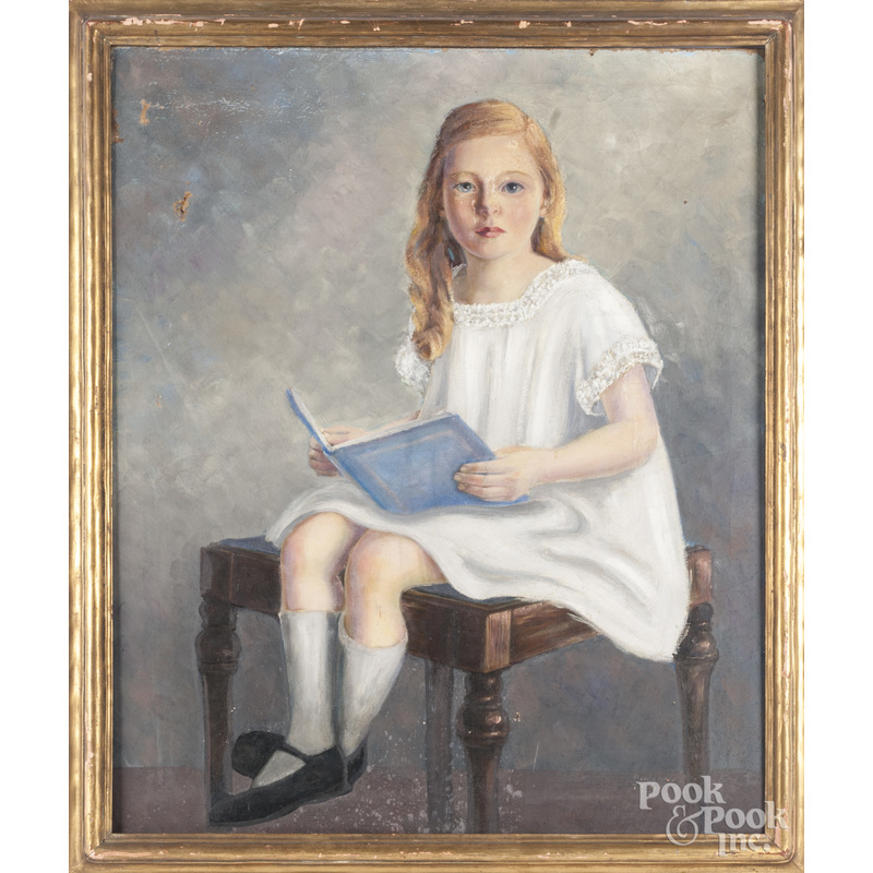 Ramond Temple (American, early 20th c.), oil on canvas portrait of Eleanor Temple