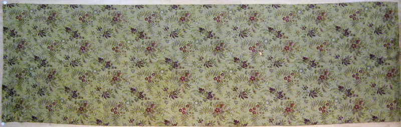 Red and yellow ingrain carpet, ca. 1870, in an ove