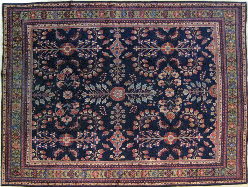 Mahal carpet, ca. 1910, with a floral pattern on a