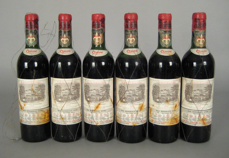 Six 750ml bottles 1959 Lafite Rothschild.