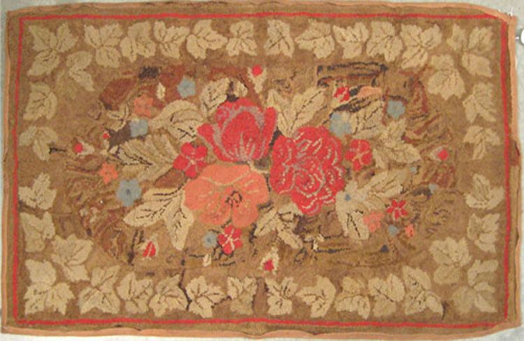 Two American hooked rugs, ca. 1900, with floral de