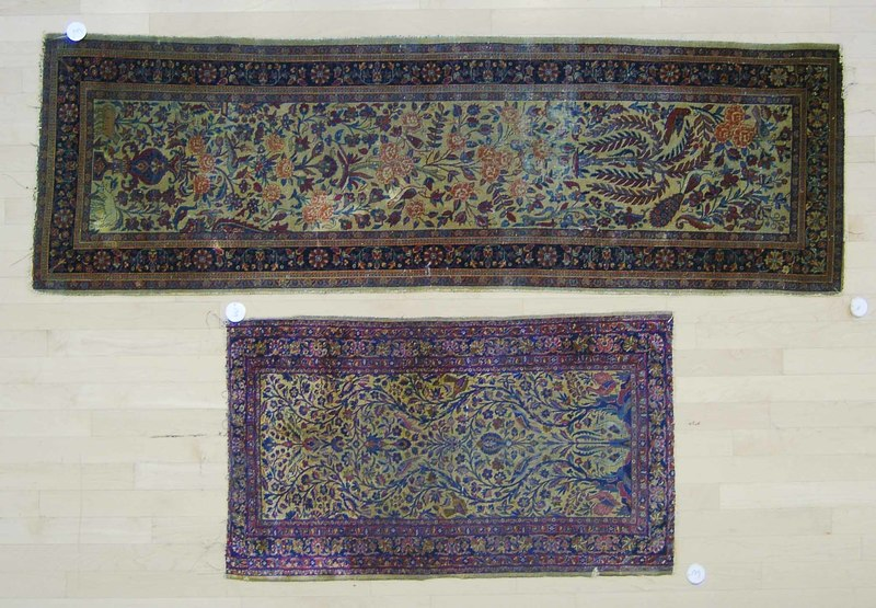 Two Isphahan mats, ca. 1900, 6'6