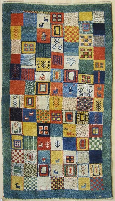 Modern throw rug, 7' x 4'.