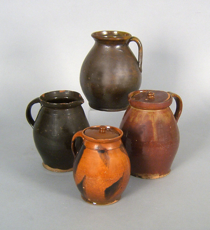 Four American redware jugs, 19th c., tallest - 8 3