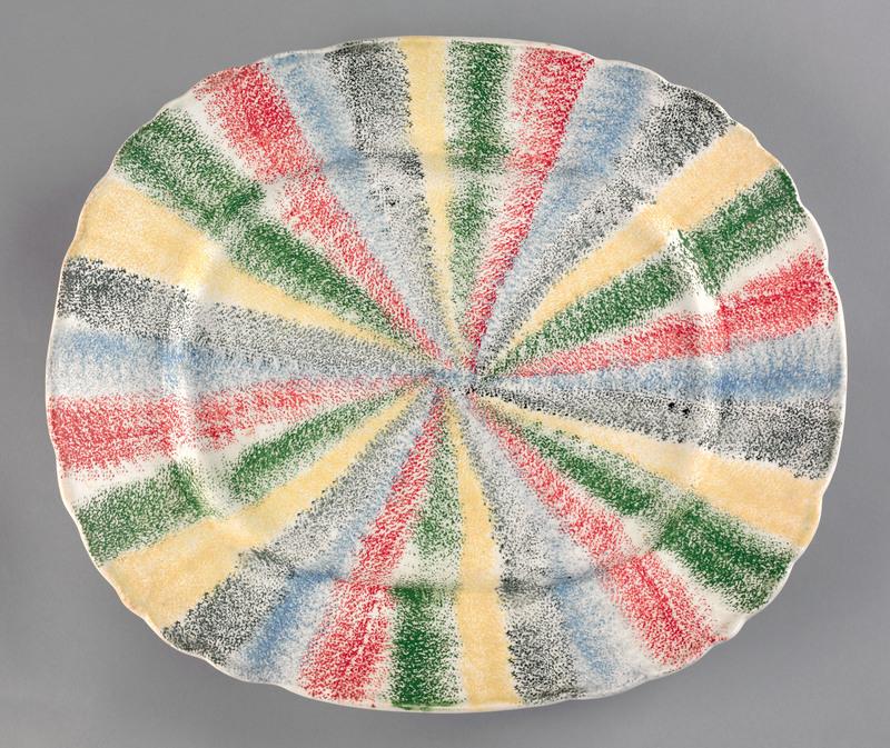 Rare five color rainbow spatter platter