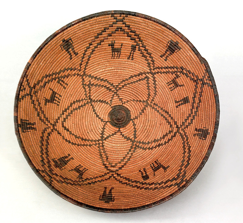 Apache coiled basketry bowl, ca. 1900, decorated w