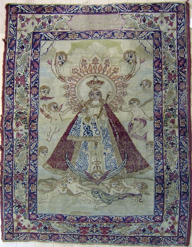Kirman mat, ca. 1910, depicting the Virgin Mary an