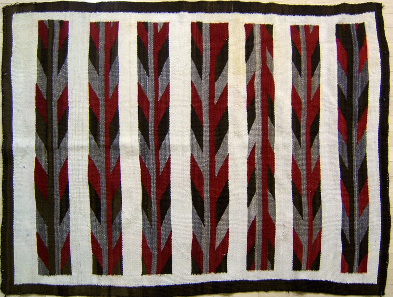 Navajo regional blanket in brown, red, and ivory b