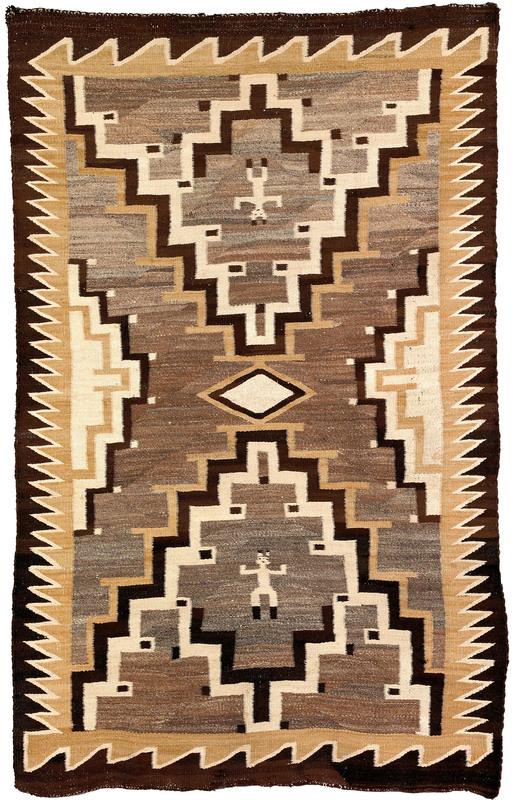 Navajo regional pictorial rug with 2 human figures